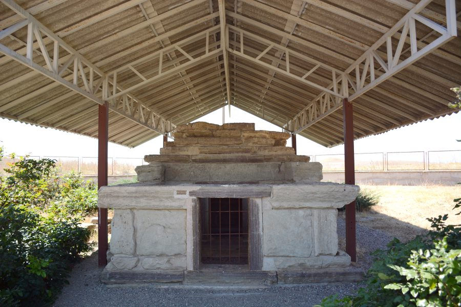The reconstructed Galatian tomb on the grounds.