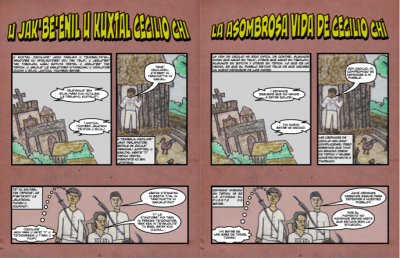 A preview of the final version of Cecilio Chi's comic book. Maya version is on the left side and Spanish on the right side. Photo Credit: Aldo Anzures Tapia