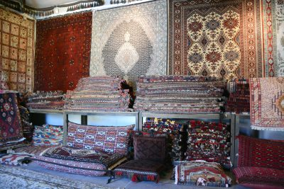 A view of some of the beautiful carpets on display.