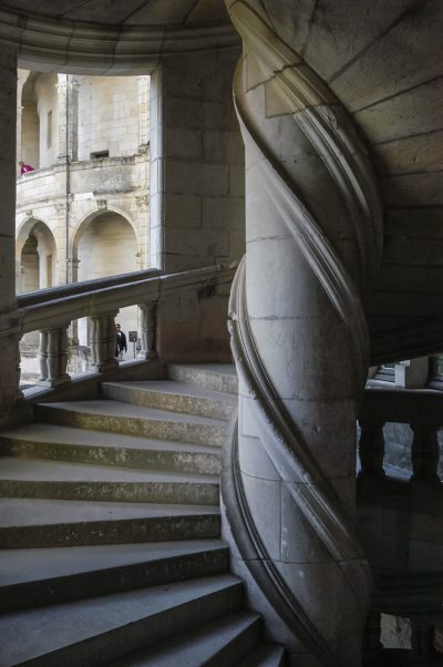 Slouched stairs at Chambord. Photo by Jean Puyo.