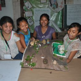 5.	Done! One group places down their model for the group exhibit. Photo by Frances Kvietok Dueñas.