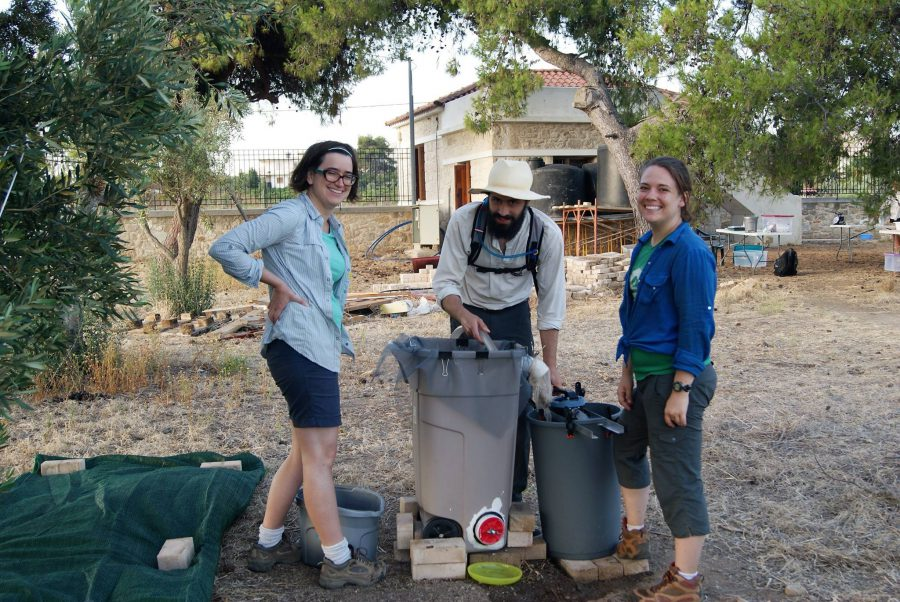 Me and two other students working to set up the flotation tank. Photo by Dr. Chantel White.