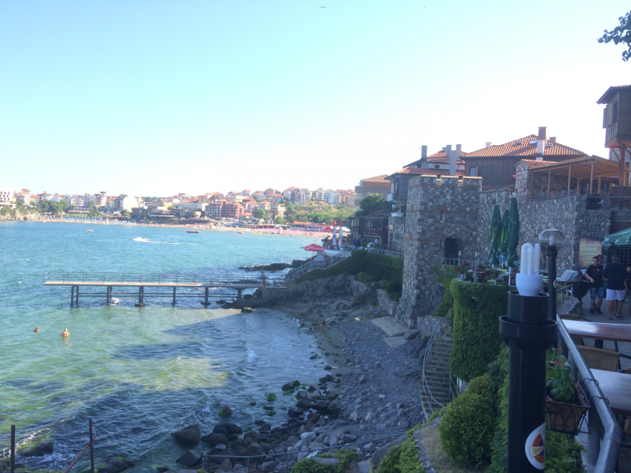 The Black Sea laps at the Old Beach at Sozopol.