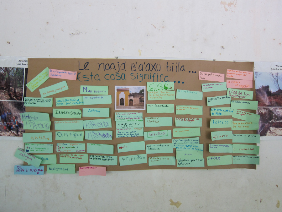 The result of asking the students in the museum what this house means to them, in both Maya and Spanish. Photo by Socorro Poot Dzib.