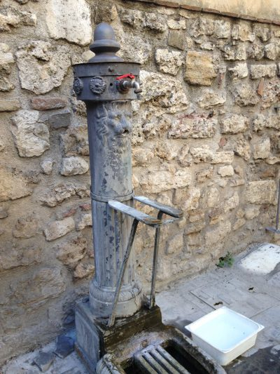 The water spout where we filled buckets to clean our tesserae. Photo by Emma Brown.