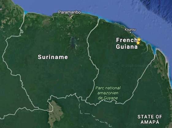 Google Earth screenshot of French Guiana and neighboring Suriname and Brazil. The two stars indicate the two towns where we excavated.
