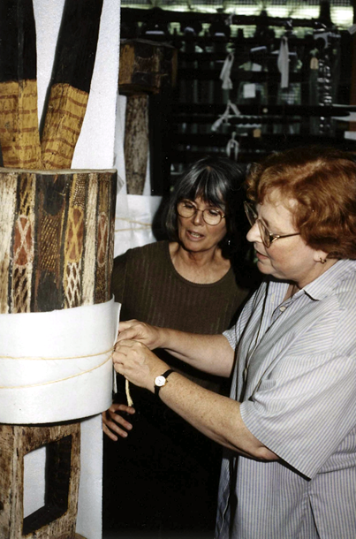 Virginia Greene, former Head of Conservation, and Adria Katz, Keeper of the Oceania Section discussing and implementing improved storage conditions, c. 2000.