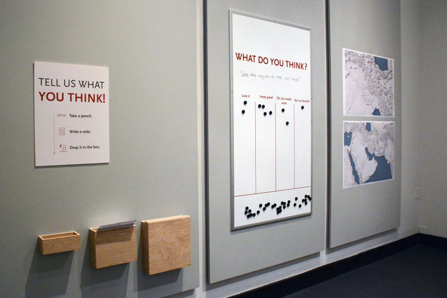 The Idea Lounge includes space for visitors to provide feedback about exhibition features such as the maps shown here.