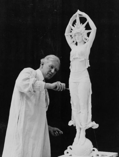 Alexander Stirling Calder (1870-1945) works on sculpture for the 1915 Panama-Pacific International Exposition in San Francisco. Public domain image.