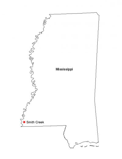 A map showing the location of the Smith Creek Archaeological Site within the state of Mississippi. Image courtesy of Megan Kassabaum.