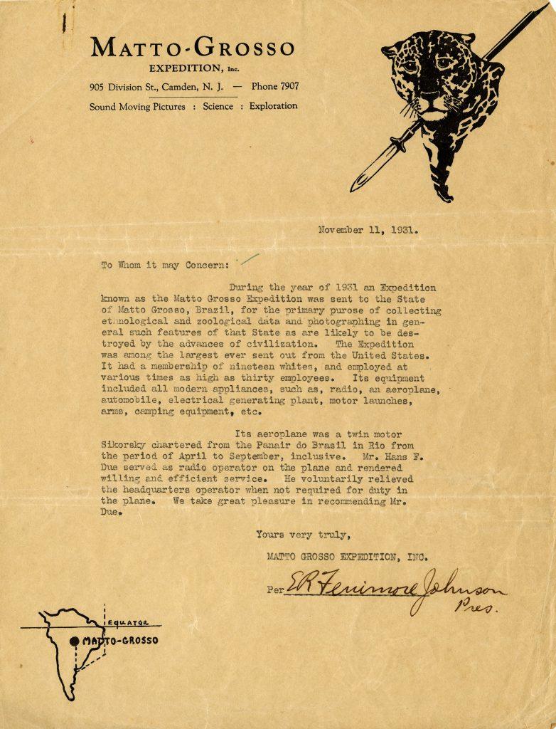 Fenimore Johnson Letter