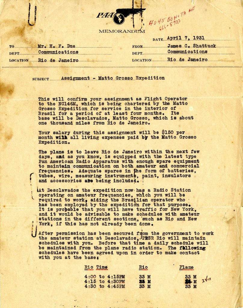 Pan American Airlines Letter