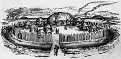 Reconstruction of ring ditch as a palisade settlement, one of many possible interpretations (artwork by Daniel Brinkmeier).