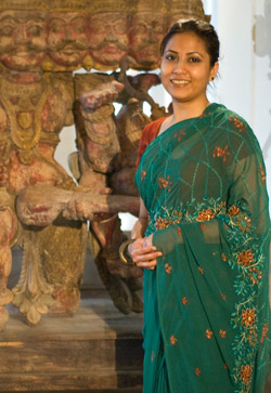 Sharmin Farhana from Bangladesh, one of five presenters at Penn Museum's free Peace Around the World event, shares aspects of her native country's New Year celebration. Photo: Lauren Hansen-Flaschen.