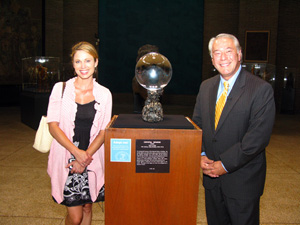 Amy Robach and Robert Wittman with Penn Museum's famous crystal ball.