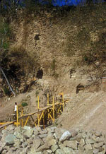 ECAP excavations along the erosion cut of the Copan Acropolis. Tunnel excavations penetrated the massive layers of royal architecture built during the Early Classic period from ca. 400-650 AD.