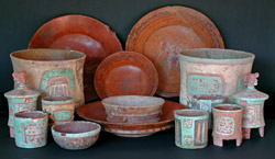 Array of pottery vessels placed in the tomb of Copan's 8th ruler, Wil Ohl K'inich, excavated beneath the Jaguar Stairway of the Acropolis East Court.