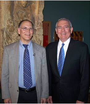 Dr. Jerry Sabloff and Mr. Dan Rather in Penn Museum's Mesoamerican gallery.