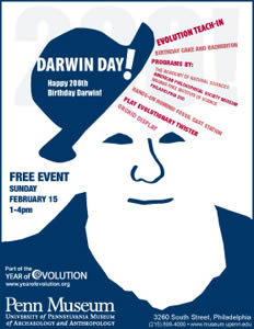 Clockwise from top left: Darwin Day 200th Birthday Celebration Poster; Charles Darwin plays badminton his favorite pastime sport; a unique and varied selection of orchids will be on display; visitors enjoy a show and tell table of hominid fossil casts.