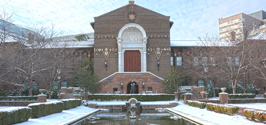Museum front covered in snow