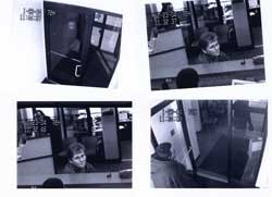 A series of still photographs taken from video surveillance equipment at a Philadelphia bank.  Examination of immutable biological features of the perpetrator allows comparison to the person or persons who have been accused of the crime.  In this case, features of the ear and of various proportions of the face were used for comparison to a person who had been arrested for the crime. Composite by Janet Monge from bank surveillance camera equipment.)