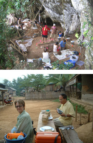 Top: The test excavation at Phou Phaa Khao rockshelter near Luang Prabang, Laos.  Bottom:Co-directors of the Middle Mekong Archaeological Project, Dr. Joyce White and Bounheuang Bouasisengpaseuth.