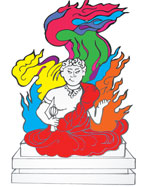 The new activity book lets kids color an outline of the Statue of Fudo, located in the Penn Museum's Japan Gallery.
