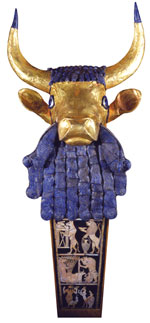 Lyre with Bearded Bull's Head and Inlaid Panel, Royal Cemetery, Ur, Iraq, Early Dynastic III, 2550-2450 BCE, Wood, lapis lazuli, gold, silver, shell, bitumen, H. 35.6 cm. Penn Museum Object B17694.