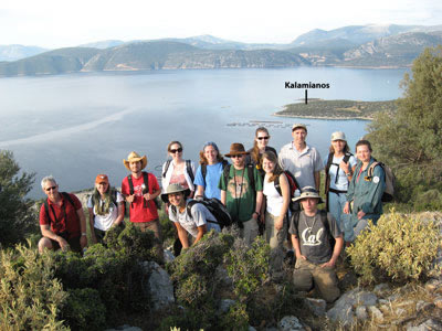 Members of the 2007 SHARP team gather on a hilltop with a view overlooking Kalamianos and beyond. Photo: Lita Tzortzopoulou-Gregory.