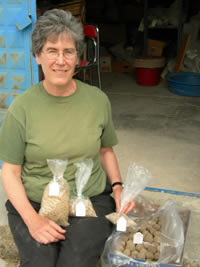 Dr. Naomi F. Miller with a variety of modern seeds and seed-filled mudballs she prepared for a demonstration garden of native plants that is part of the interpretive program for the museum at the archaeological site of Gordion in Turkey (June 28, 2006). Photo courtesy N.F. Miller