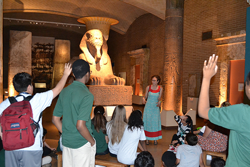 Farell School students in the Egypt (Sphinx) Gallery.
