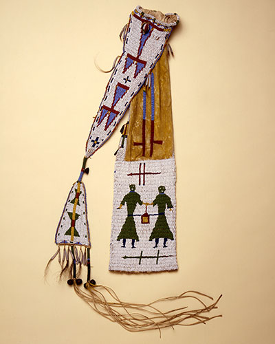 Pipe bag, circa 1880, Great Plans, United States. This pipe bag is decorated with an image of the Double Woman, a powerful, ambivalent figure in Lakota mythology and religion who, through dreams, has the power to lead women to promiscuity and transform men into winkte, members of the Lakota two-spirit, or third gender. The pipe bag is one of 30 artifacts in SEX: A HISTORY IN 30 OBJECTS, on view at the Penn Museum October 17, 2015 through July 31, 2016