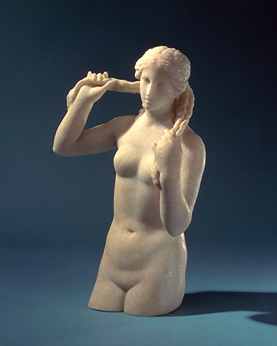 Statue of Venus, circa 150-100 BCE; Benghazi, Libya. The goddess of sexuality, beauty, and love is shown wringing out her long hair as she is born from the white foam of the sea. The Benghazi Venus is one of 30 artifacts in SEX: A HISTORY IN 30 OBJECTS, on view at the Penn Museum October 17, 2015 through July 31, 2016