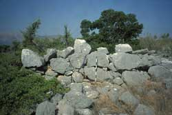 View of the cyclopean stone masonry of a building at Kalamianos