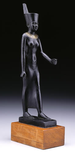 Statue of the Goddess Neith, Simbillawein, Dynasties 26-30 (664-332 BCE), Bronze (hollow cast),  Penn Museum Object E14289.  This votive statue of the goddess Neith originally held a walking staff.  This statue was deposited at a cult center of the goddess, whose chief temple was at Sais. Neith was a goddess of war.  She also was the patron deity of weavers.