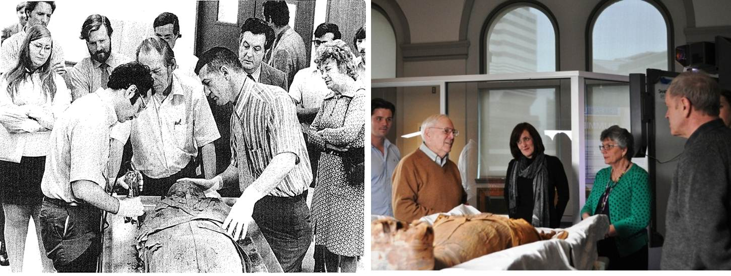 Dr. Michael Zimmerman performing the autopsy in 1972 (left image, on left) and just last week, visiting PUM I in the Artifact Lab