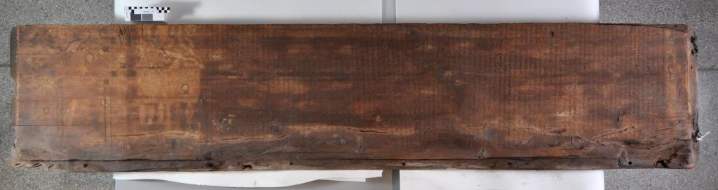 One of the boards from Ahanakht's outer coffin, showing the side covered with columns of Hieratic inscriptions.