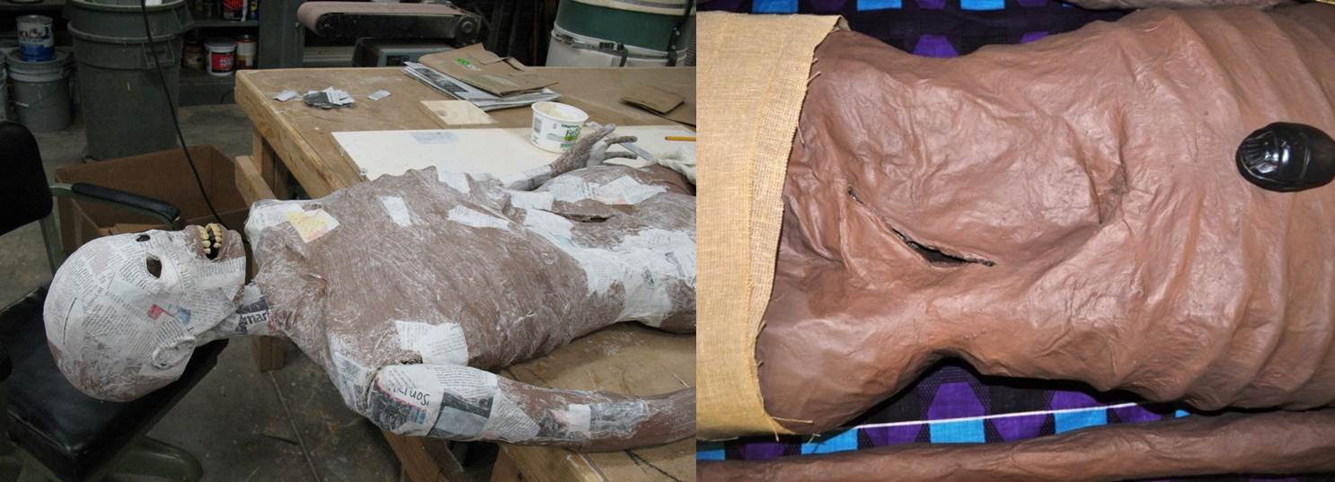"The ""skin"" in process of being applied (left) and a detail of the evisceration on the mummy's left side (right)"