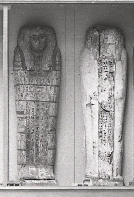 The lid and the base of Tawahibre's coffin, side by side in the Mummy Gallery in 1935.