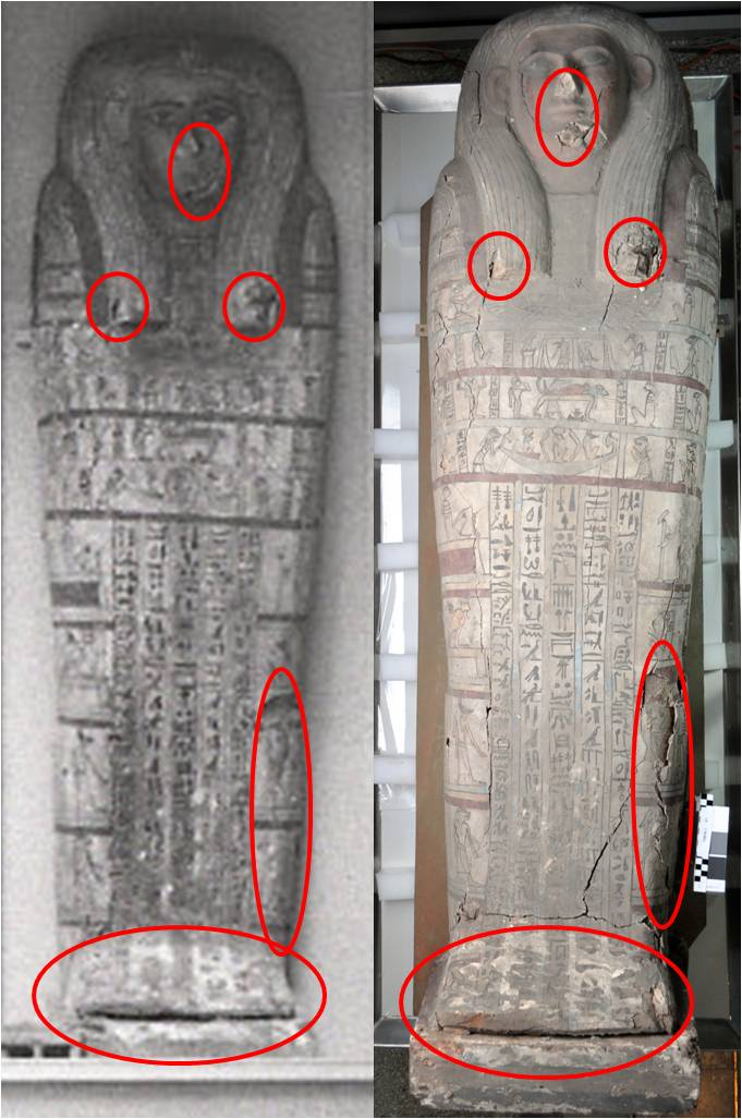 Tawahibre's coffin in 1935 (left) and today (right). Much of the major damage we see today had already occurred by 1935. To highlight this, I've circled some of the damaged areas in red in both images.