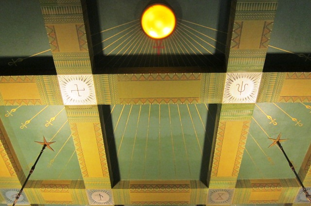 A detail of the sun disk on the ceiling