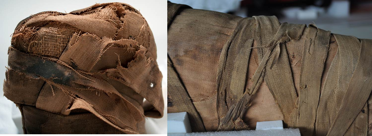 Details of damaged linen around the feet (left) and on Tanwa's back (right)