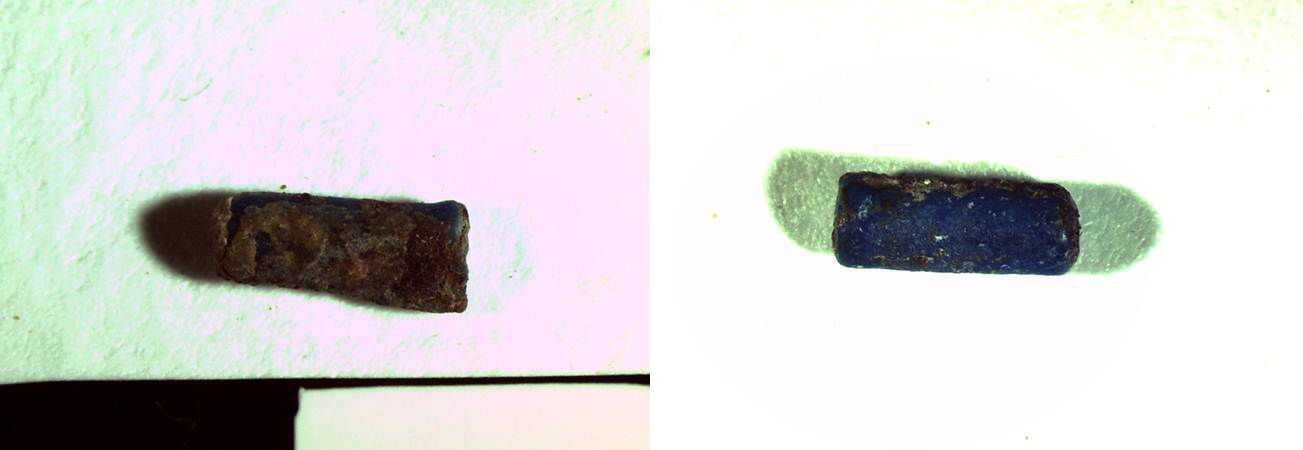 A tubular bead before (left) and after (right) exploratory cleaning to remove the residue on the surface ( 10X magnification)