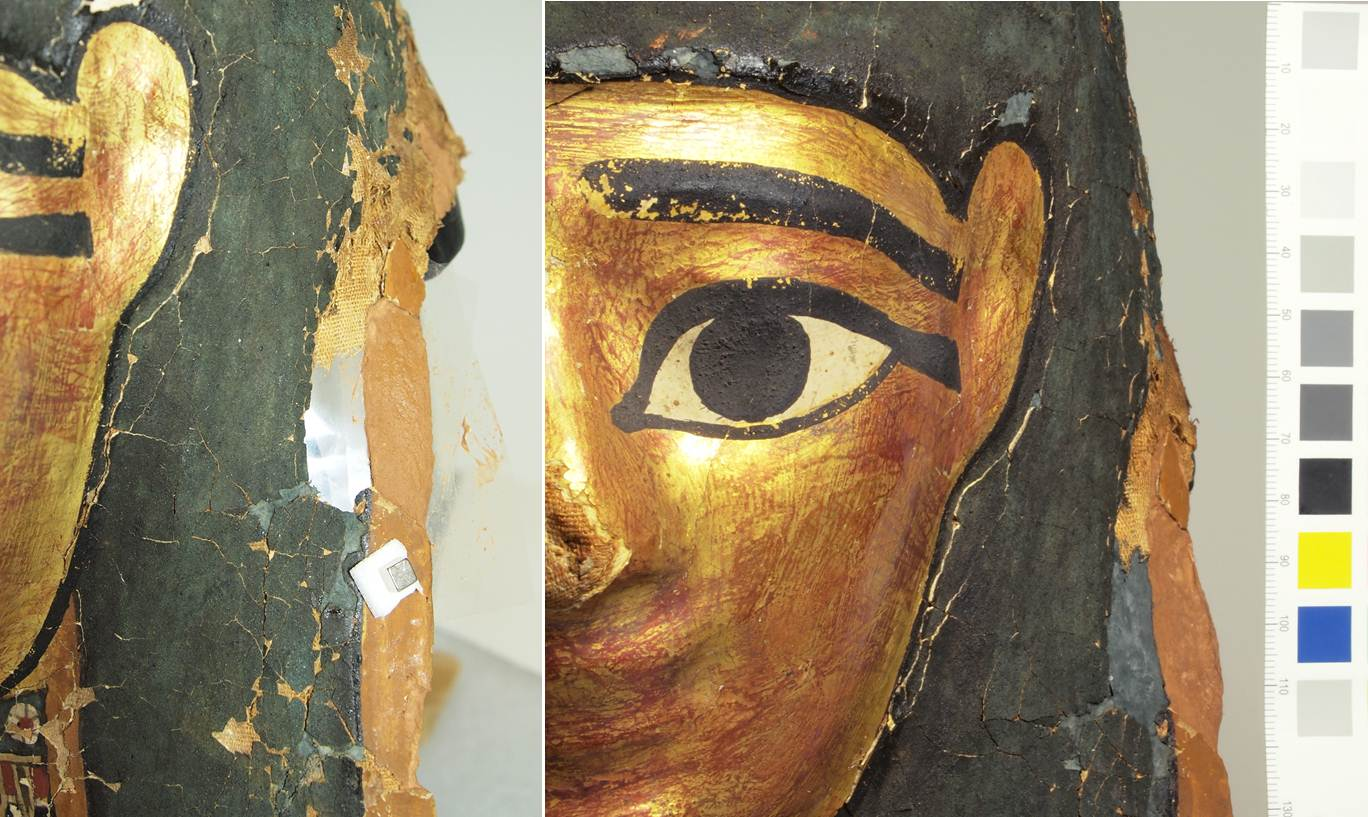 Left: During loss compensation.  The square rare earth magnet at the bottom of the image was being used to keep the Mylar in tight with the shape of the mask. Right: After the fill was done and had dried.