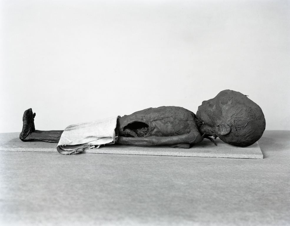 Photograph of the baby boy mummy from the museum Archives