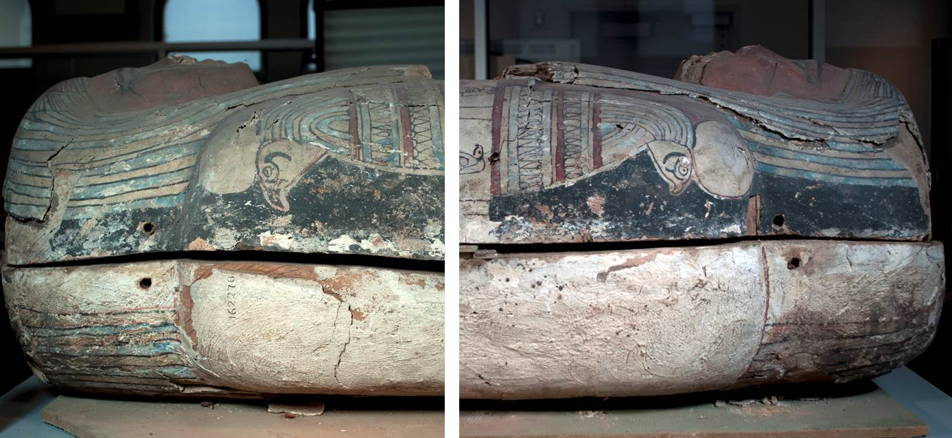 Detail views of the proper right and proper left sides of the coffin lid and base, before treatment