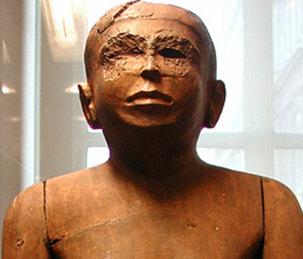 Tcheti statue, Louvre Museum n.E11566 - Detail of the missing eyes.