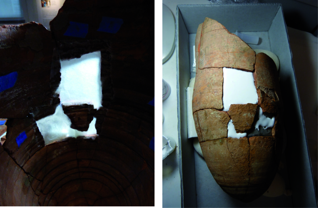 "On the left: The inside of the jar with the ""tricky fragment"" held in place by the japanese tissue paper.   On the right: Applying the fill material."