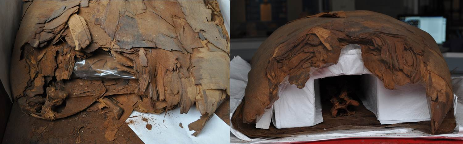 View from the top of PUM I (with head removed) before and after conservation