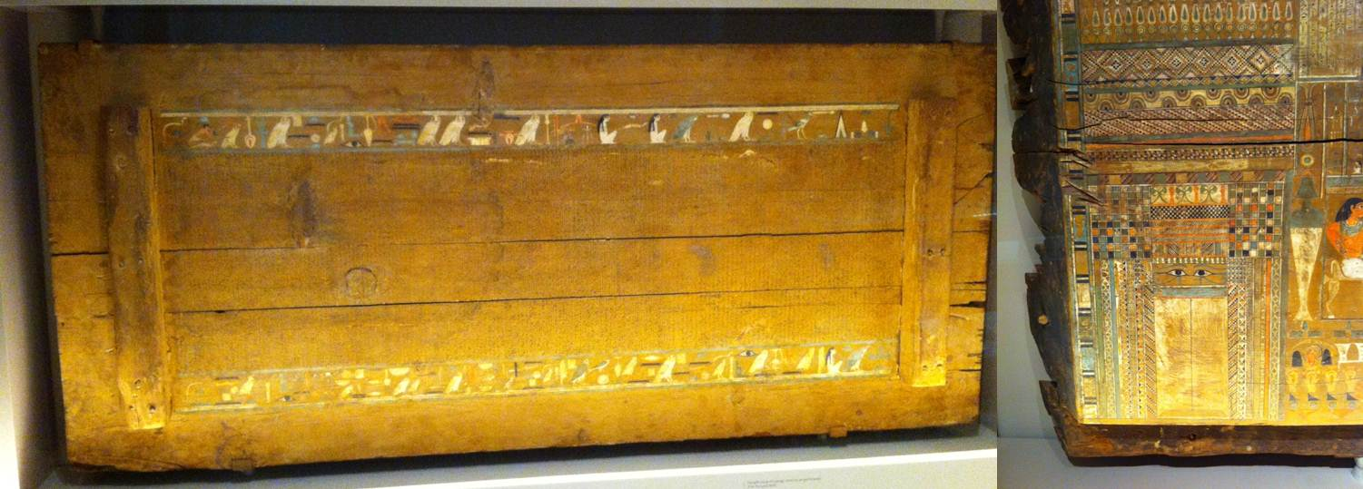 The interior of the lid of Governor Djehutynakht's outer coffin (left) and detail of the false door (right)